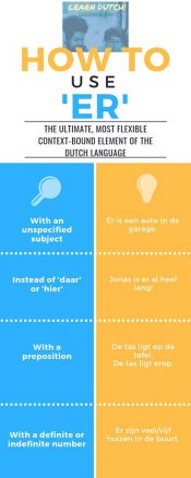 How to use 'er'? Use this convenient infographic of LearnDutchOnline.nl to master this most flexible element of the Dutch language fast!